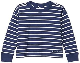 Vineyard Vines Kids Long Sleeve Cropped T-Shirt (Toddler/Little Kids/Big Kids) (Navy Stripe) Girl's T Shirt