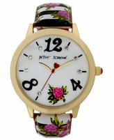 Betsey Johnson Women's Mother of Pearl Dial Floral Black White Leather Strap Watch BJ00357-23