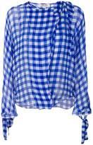 Dvf Diane Von Furstenberg checkered wrap shirt