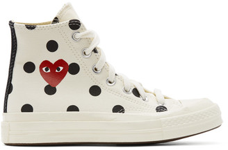 Comme des Garcons White Converse Edition Polka Dot Heart Chuck 70 High Sneakers