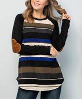 Celeste Women's Tunics OLIVE - Olive Stripe Elbow-Patch Raglan Top - Women & Plus