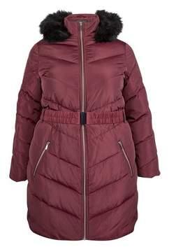 Dorothy Perkins Womens **Dp Curve Burgundy Long Luxe Puffer Coat