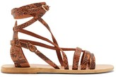 Ancient Greek Sandals Satira Wrap-around Python-effect Leather Sandals - Womens - Brown Multi
