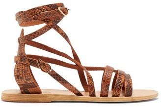 Ancient Greek Sandals Satira Wraparound Python-effect Leather Sandals - Brown Multi