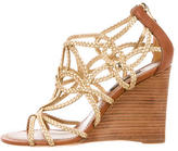 Louis Vuitton Metallic Braided Wedges