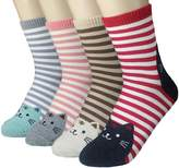 JJMax Women's Sweet Kitties Bunnies Roll Cuff High Ankle Socks Set