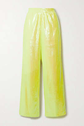 MM6 MAISON MARGIELA Sequined Mesh Wide-leg Pants - Chartreuse