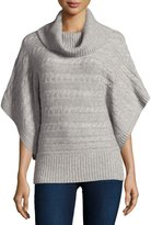 Neiman Marcus Cashmere Cable-Knit Banded-Hem Poncho, Heather Gray