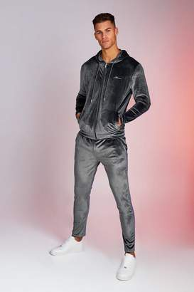 BoohoomanBoohooMAN Mens Grey Man Signature Shiny Velour Hooded Tracksuit, Grey