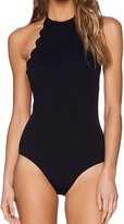 ACHICGIRL Women's Chic Solid Color Backless Scalloped Trim One Piece Swimsuit, S