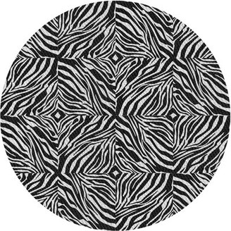East Urban Home Patterned Black/White Area Rug East Urban Home Rug Size: Round 4'