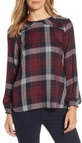 Bobeau Women's Plaid Ruffle Top