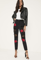 Missguided Black Embroidered Rose Ripped Mom Jeans