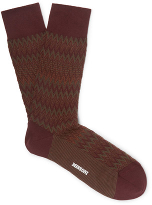 Missoni Crochet-Knit Cotton-Blend Socks - Men - Brown