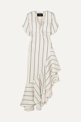 Paper London Asymmetric Striped Linen-blend Wrap Dress - Ivory