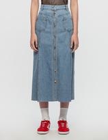 Sjyp Button Front Denim Long Skirt