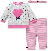 Little Me Baby Girls' 3-Pc. Headband, Heart Sweatshirt & Leggings Set