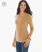 Chico's Metallic-Trim Scoop Neck Top