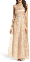 Ellen Tracy Women's Embellished Burnout Gown