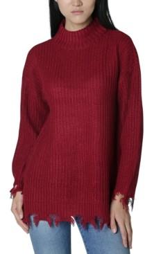 No Comment Juniors' Destructed Mock-Neck Tunic Sweater