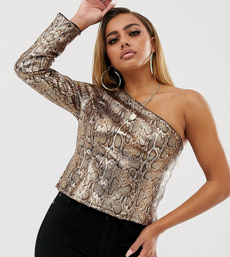 ASOS DESIGN Petite one shoulder top in snakeskin printed sequin