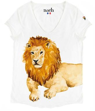Nach White Lion Print T Shirt - small
