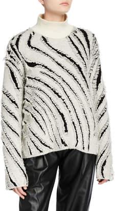 3.1 Phillip Lim Zebra Fringe Turtleneck Sweater