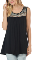 Magic Fit Black Embroidery Scoop Neck Tank