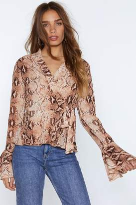 Nasty Gal Womens Snake That Wrap Blouse - Pink - 6, Pink
