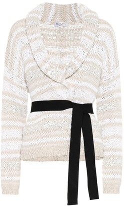 Brunello Cucinelli Sequined cotton blend cardigan