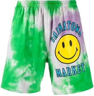 Chinatown Market Logo Tie-Dye Print Shorts
