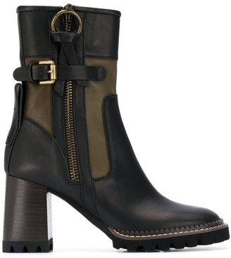 See by Chloe Buckled Biker Ankle Boots