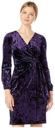 Lauren Ralph Lauren Empress Panne Velvet Joni Long Sleeve Day Dress (Regal Plum Velvet) Women's Clothing