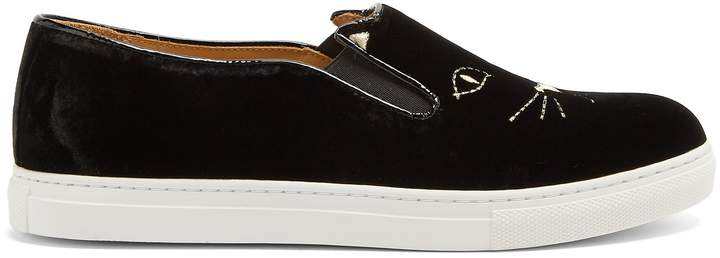 Charlotte Olympia Cool Cats embroidered velvet slip-on trainers