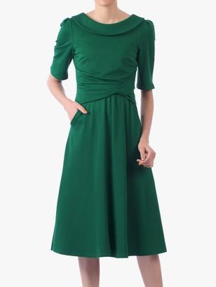 Jolie Moi Roll Collar 50s Dress, Green