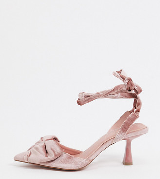 ASOS DESIGN Wide Fit Wavey bow mid heels in blush velvet