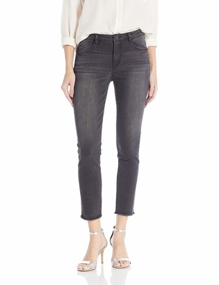 Democracy Women's High Rise Slim Straight with Rhinestuds