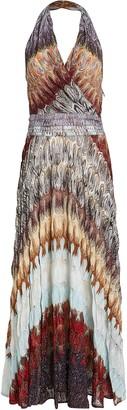 Missoni Halter Rainbow Knit Maxi Dress