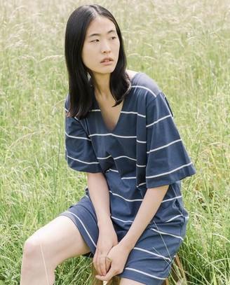 Beaumont Organic Sasha Sue Organic Cotton Dress In Midnight Natural - Midnight & Natural / Small