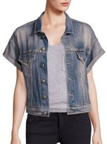 R 13 Denim Roll-Sleeve Vest