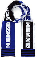 Kenzo Cotton Sporty Football Scarf Blue/Black