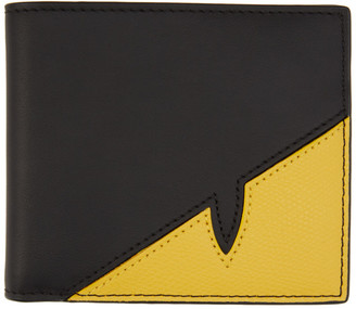 Fendi Black and Yellow Bag Bugs Mono Eye Card Holder