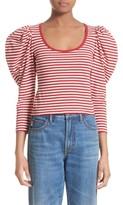 Marc Jacobs Women's Stripe Cotton Puff Sleeve Top