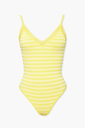 Forever 21 Striped Lace-Trim Bodysuit
