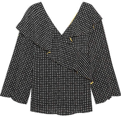 Diane von Furstenberg Ruffled Polka-dot Silk Crepe De Chine Wrap Top - Black