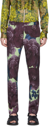 Dries Van Noten Purple and Green Wool Floral Trousers