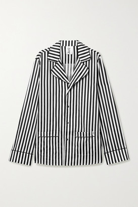 Les Girls Les Boys Piped Striped Cotton-sateen Pajama Shirt - Black