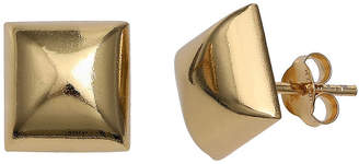 SILVER TREASURES Silver Treasures Silver Treasures Square 18K Gold Over Silver 10mm Stud Earrings