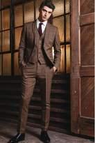 Mens Next Tan Check Suit: Waistcoat