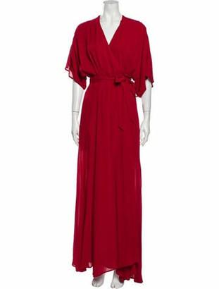 Reformation V-Neck Long Dress Red